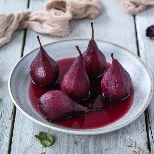 Caption of Poached Pears in Red Wine. Image by Edward Daniel (c).