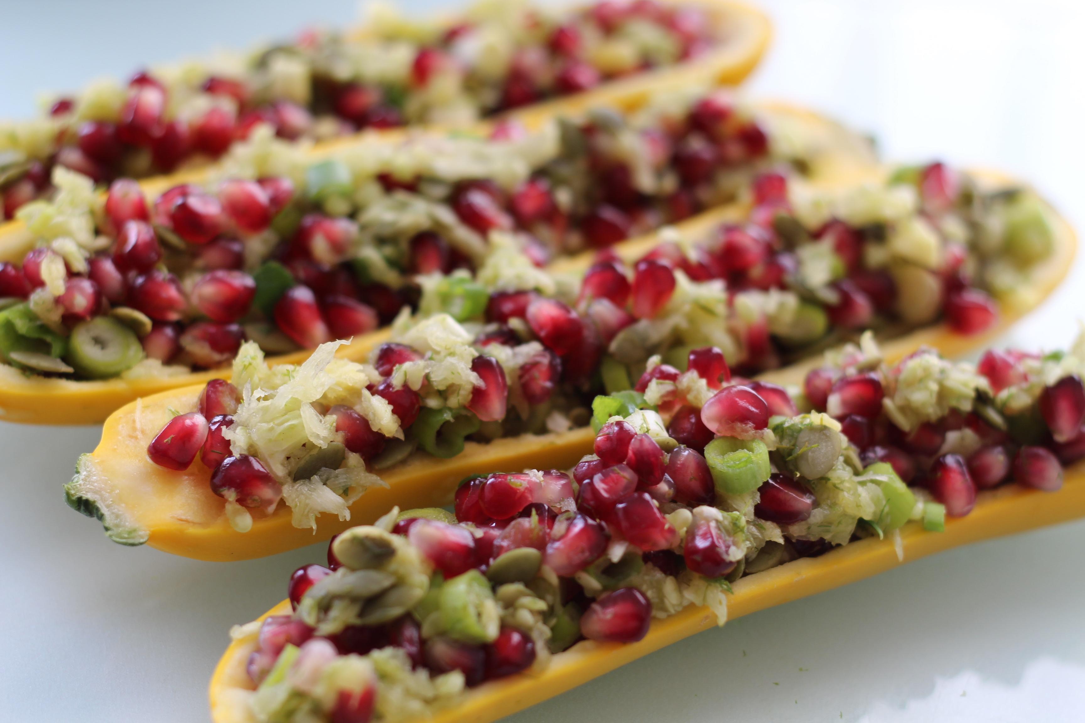 Recipe: Raw Pomegranate Dill Stuffed Zucchini – #Raw # ...
