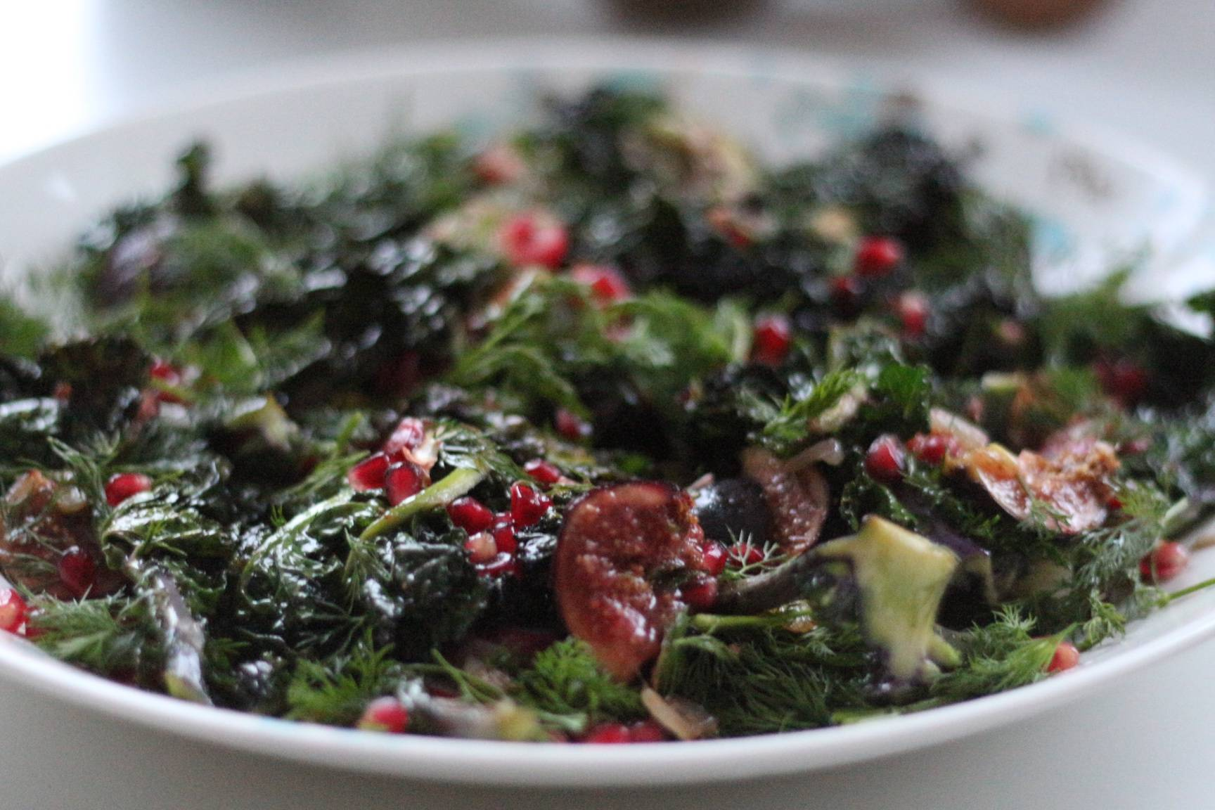 Purple Sprout Top Salad with figs and pomegranate