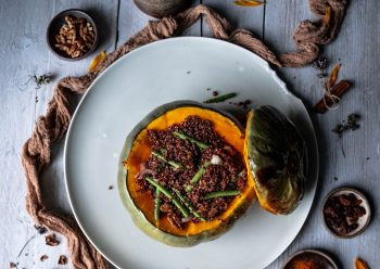 Caption of Crown Prince Squash stuffed with Fine Beans Walnuts and Quinoa. Image by Edward Daniel (c).