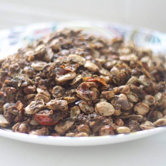 Caption of Fenugreek Mint Broad Bean Curry. Image of Edward Daniel (c).