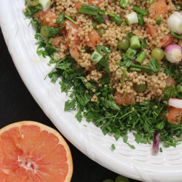 Caption of Palestinian Grape and Grapefruit Maftoul Salad. Image by Edward Daniel (c).