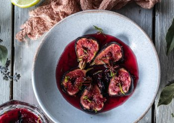 Caption of Rose and Hibiscus Poached Figs. Image by Edward Daniel (c).
