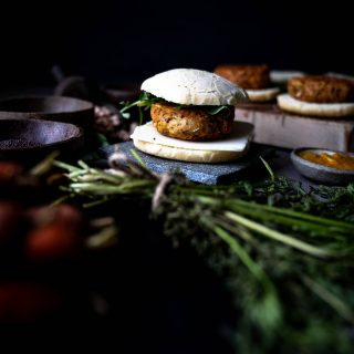 Chickpea Bean burger being served.. Image by Edward Daniel (c)