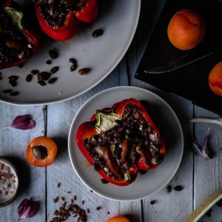Caption of Stuffed Peppers with Camargue Rice and Apricots. Image by Edward Daniel (c).