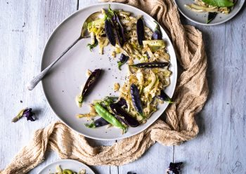Caption of Mustard Sautéed Cabbage with Mange Tout. Image by Edward Daniel (c).