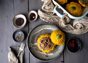 Caption of Stuffed Pattypan with Water Chestnuts and Goji Berries. Image by Edward Daniel (c).