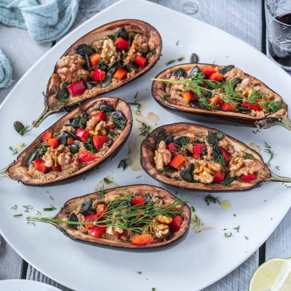 Caption of Baked Aubergine stuffed with Peppers and Walnuts. Image by Edward Daniel (c).