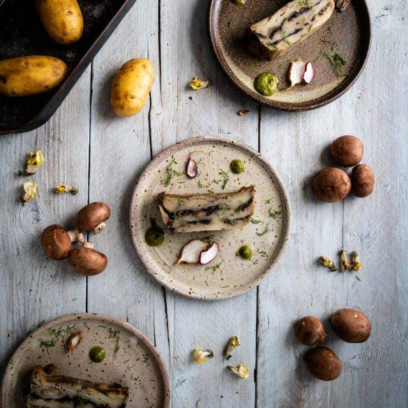 Caption of Mushroom and Potato Terrine. Image by Edward Daniel (c).
