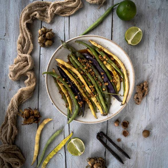 Caption of Roasted Runner Beans with Cob Nuts