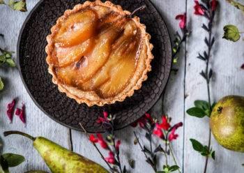 Caption of Poached Pear Tart. Image by Edward Daniel (c).