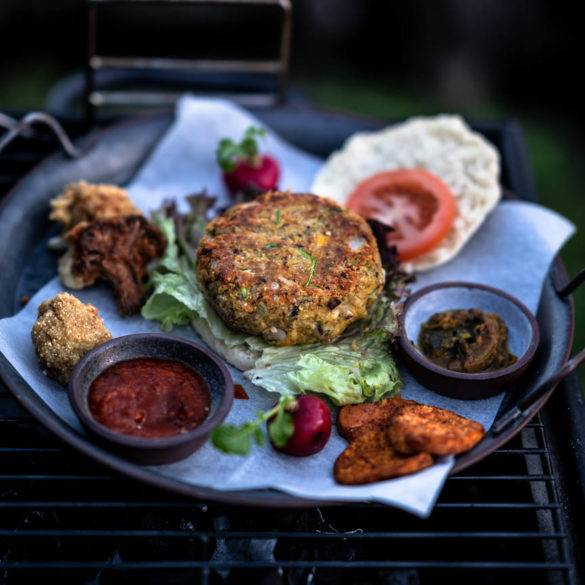 Caption of Pumpkin Black-Eyed Pea Burger. Image by Edward Daniel (c).