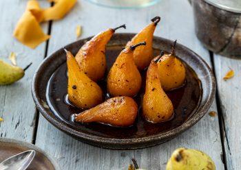 Caption of Saffron Poached Pears. Image by Edward Daniel (c).