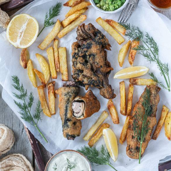 Caption of Vegan Fish and Chips. Image by Edward Daniel (c).