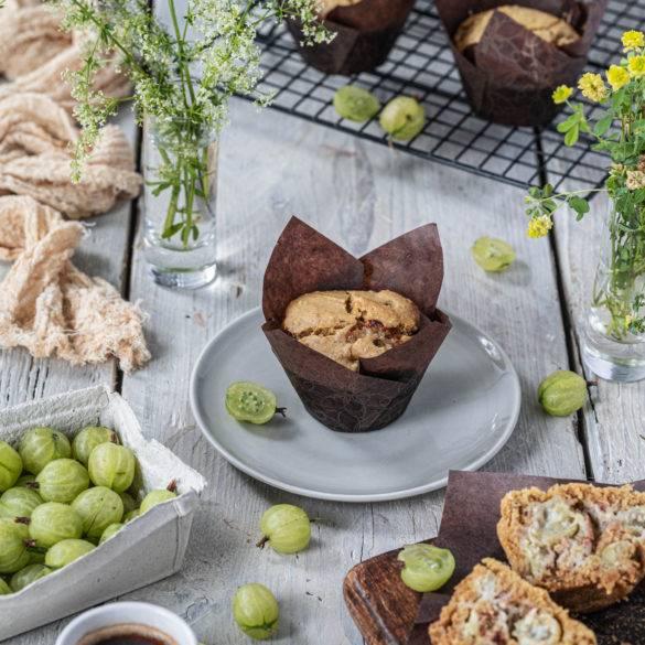 Plump burst popping moist tart Gooseberry Muffins with a hint of sweet fragrant nutmeg, awakening the senses.